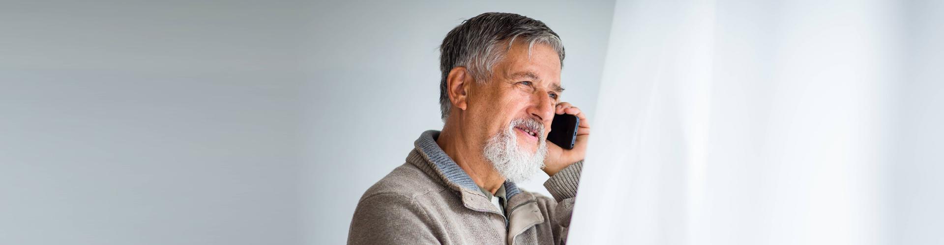 senior man having a phone call